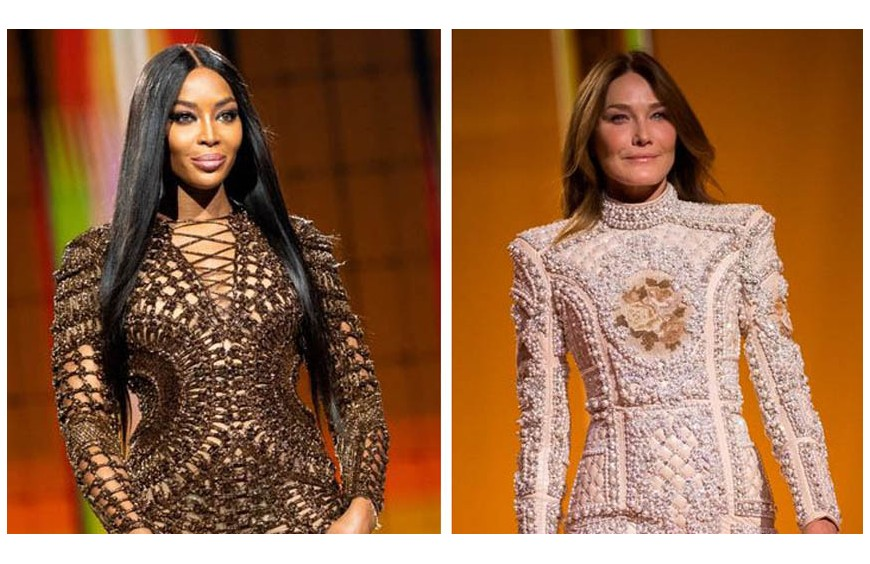 CARLA BRUNI AND NAOMI CAMPBELL PARADE TO CELEBRATE OLIVIER ROUSTEING'S 10 YEARS IN FRONT OF BALMAIN